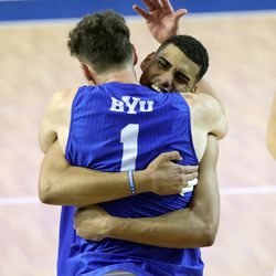 BYU'v Gabi Garcia Fernandez and teammate Davide Gardini hug as the Cougars defeat Pepperdine in the finals of the Mountain Pacific Sports Federation Championship, at the Smith Field House in Provo on Saturday, April 24, 2021. BYU won in straight sets.