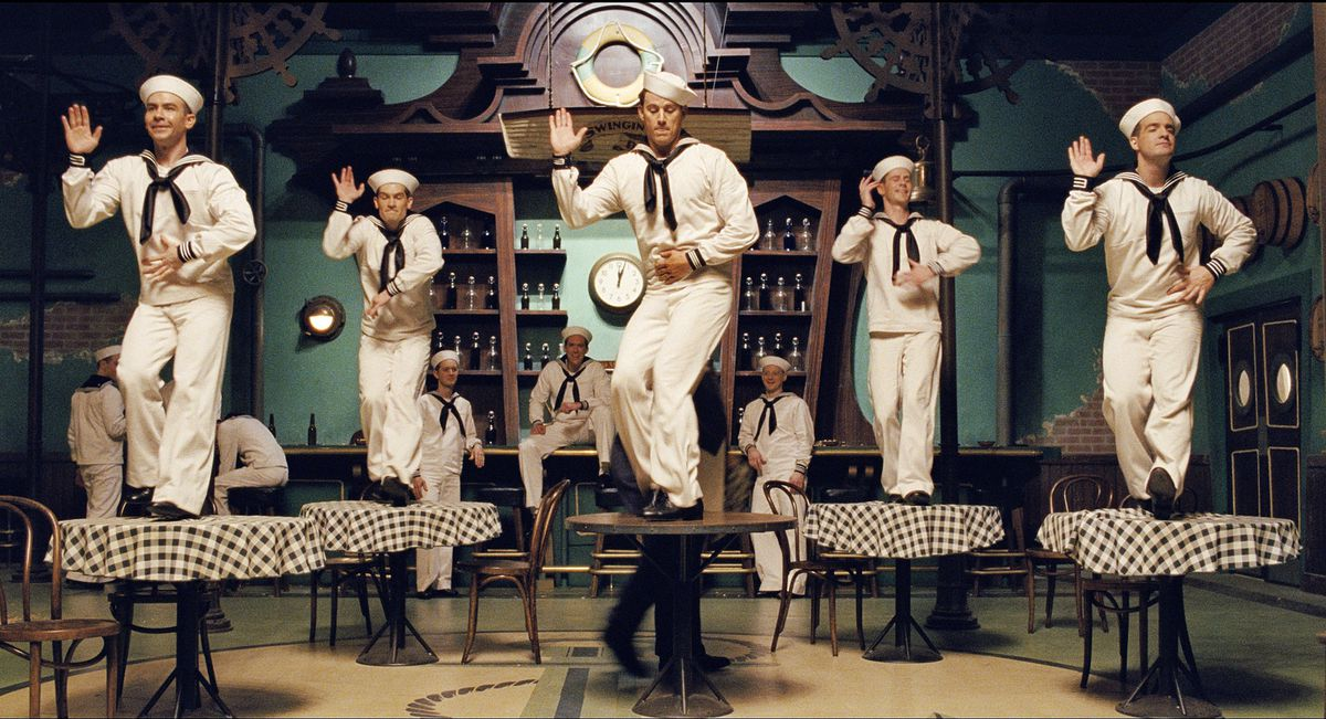 channing tatum and a group of sailors dancing