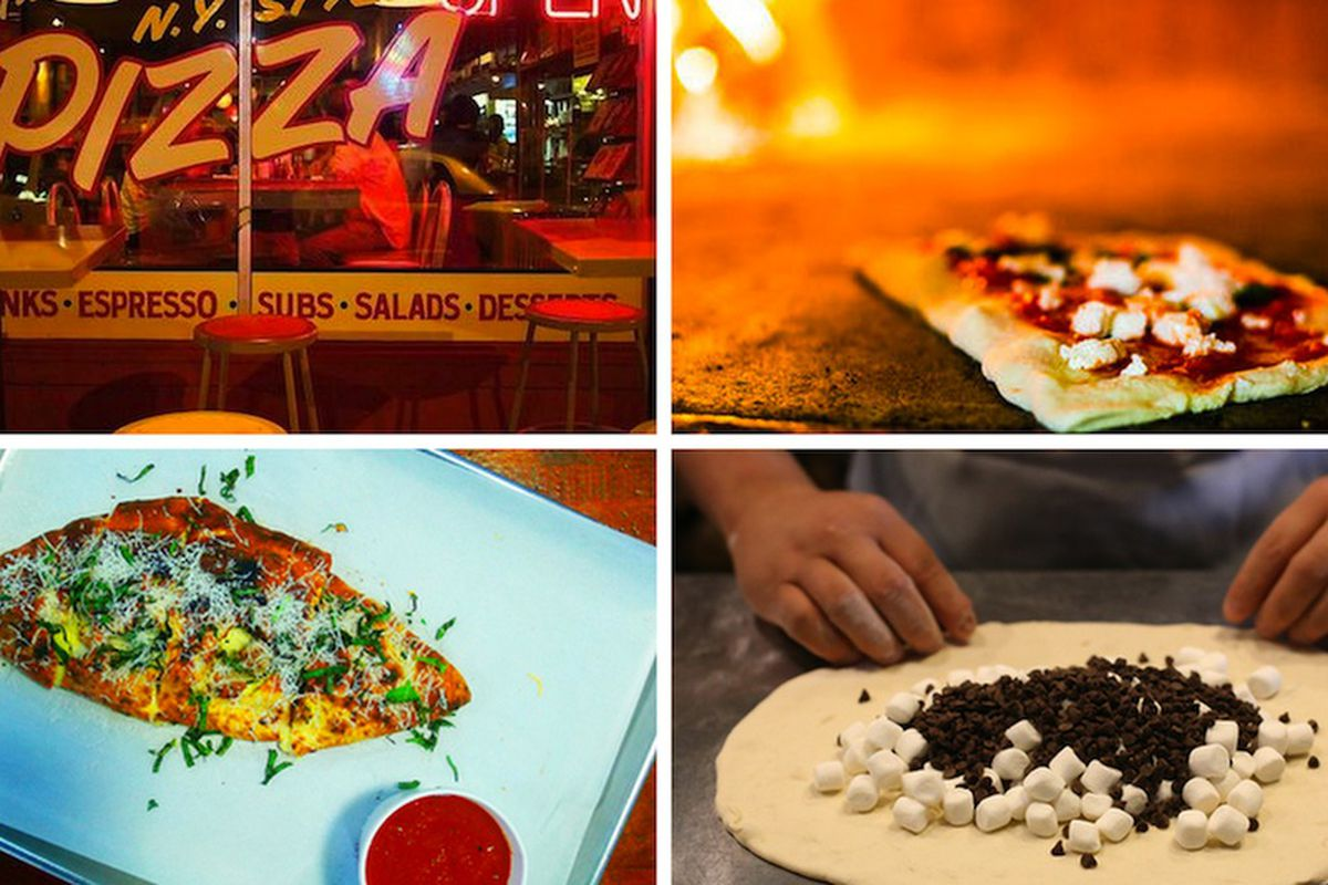 """Clockwise from top left: Home Slice, Austin [Photo: <a href=""""https://www.facebook.com/photo.php?fbid=10152136844158606&amp;set=pb.28655173605.-2207520000.1395345883.&amp;type=3&amp;theater"""">Home Slice, Facebook</a>]; Don Antonio by Starita, NY [Phot"""