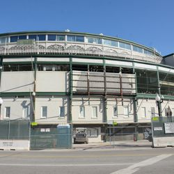 11:03 a.m. An unobstructed view of the front of the ballpark -