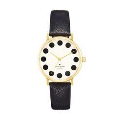 "<b>Kate Spade</b> Metro in black dot, <a href=""http://www.katespade.com/metro/1YRU0107,default,pd.html?dwvar_1YRU0107_color=979&start=60&cgid=watches"">$175</a>"