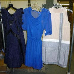 Two Balenciaga.Silk dresses on the left and the mainline (= expensive) Balenciaga on the right