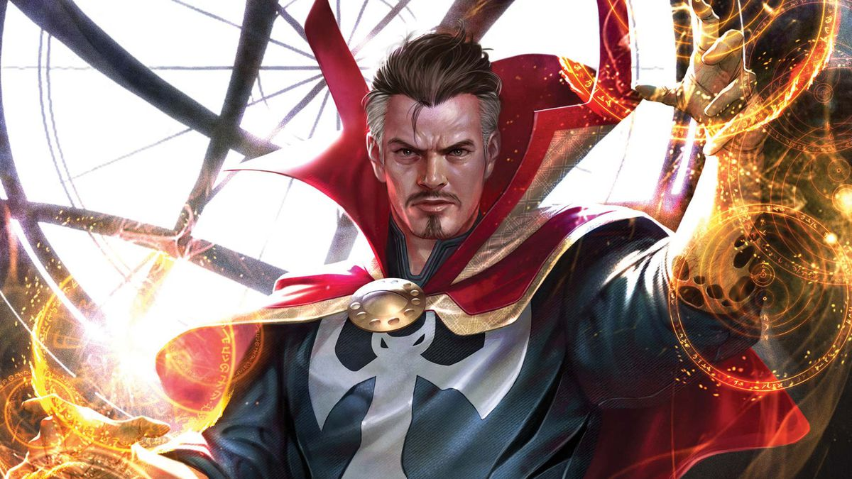 Doctor Strange weaves his magics over candles and other eldritch artifacts in the Sanctum Sanctorum, on the cover of Marvel Tales: Doctor Strange, Marvel Comics (2020).