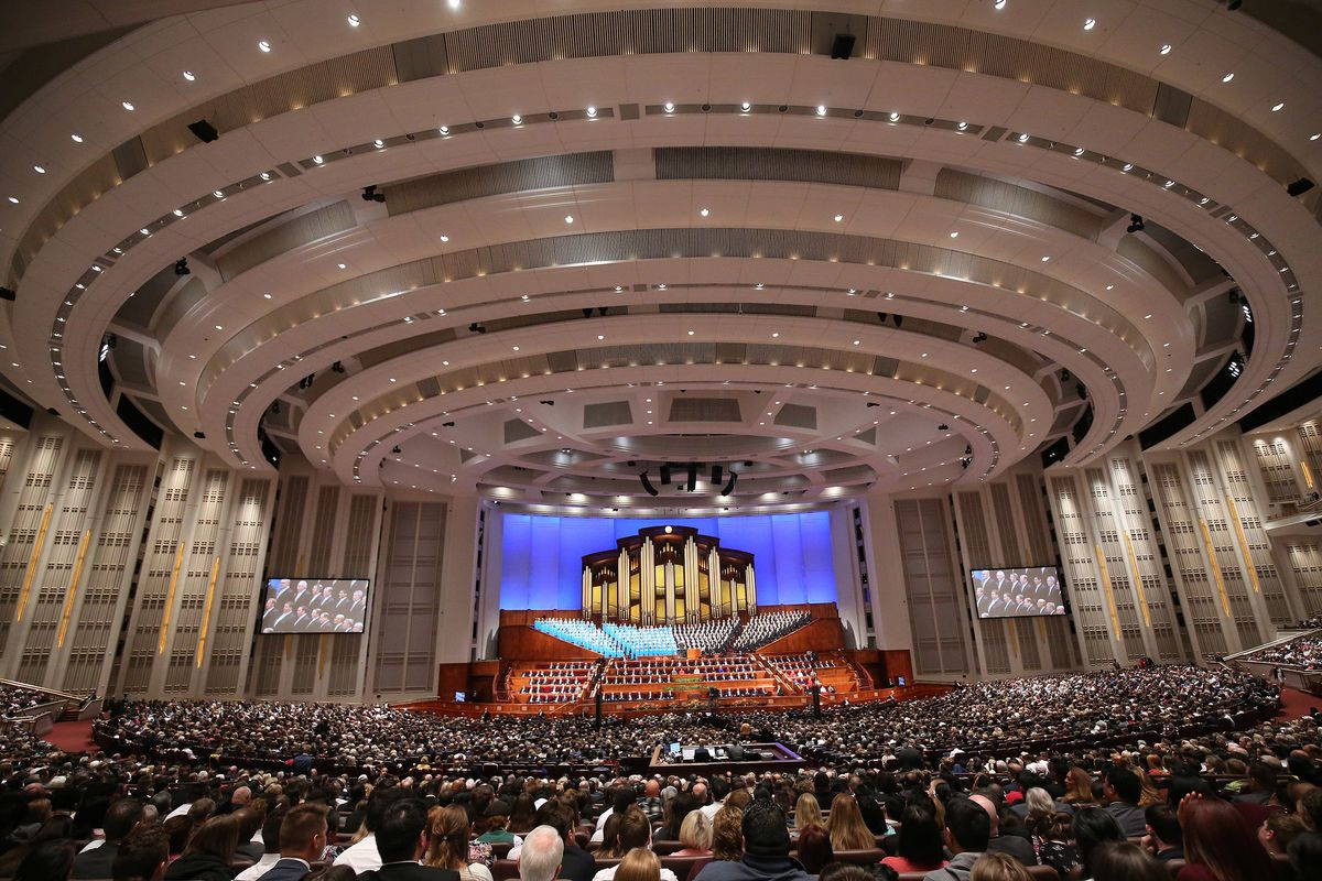 Attendees listen during the 188th Semiannual General Conference of The Church of Jesus Christ of Latter-day Saints in Salt Lake City on Sunday, Oct. 7, 2018.