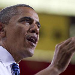 President Barack Obama speaks at the University of Iowa, Wednesday, April 25, 2012, in Iowa City, Iowa.