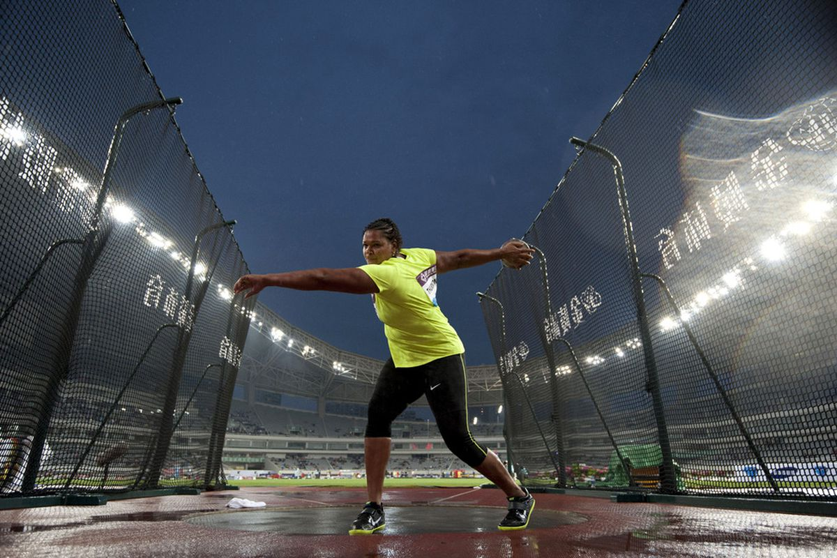 SHANGHAI, CHINA - MAY 19:  Aretha D. Thurmond of USA competes the Women DiscusThrow during the Samsung Diamond League on May 19, 2012 at the Shanghai Stadium in Shanghai, China.  (Photo by Victor Fraile/Getty Images)