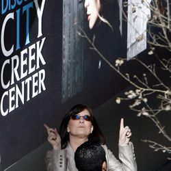 Shoppers admire the glass ceiling of the City Creek Center on its grand opening in Salt Lake City on Thursday, March 22, 2012.