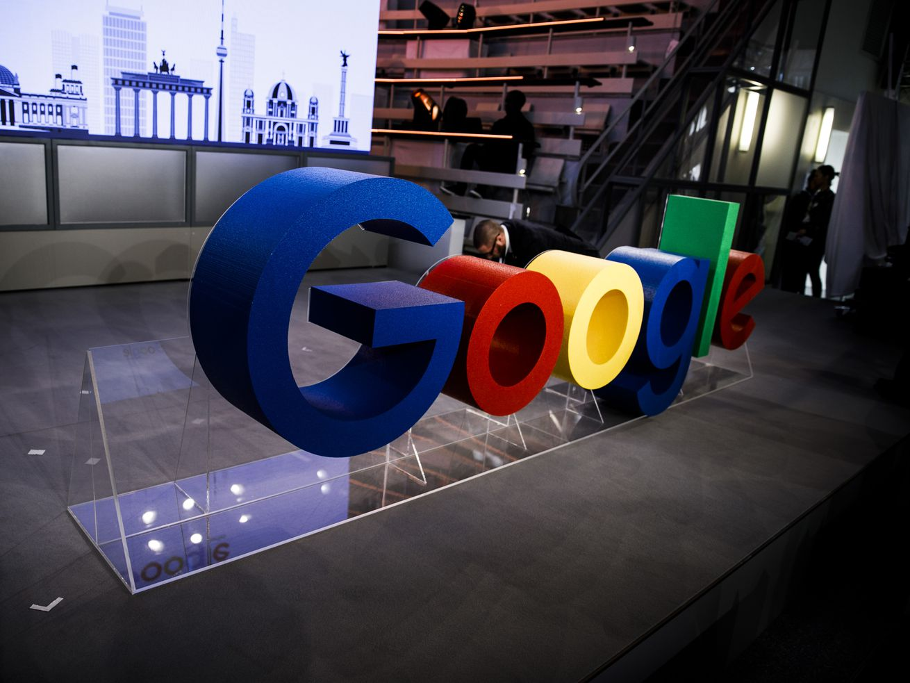 The Google logo featured in the opening of a company office in Berlin, Germany, on January 22, 2019.