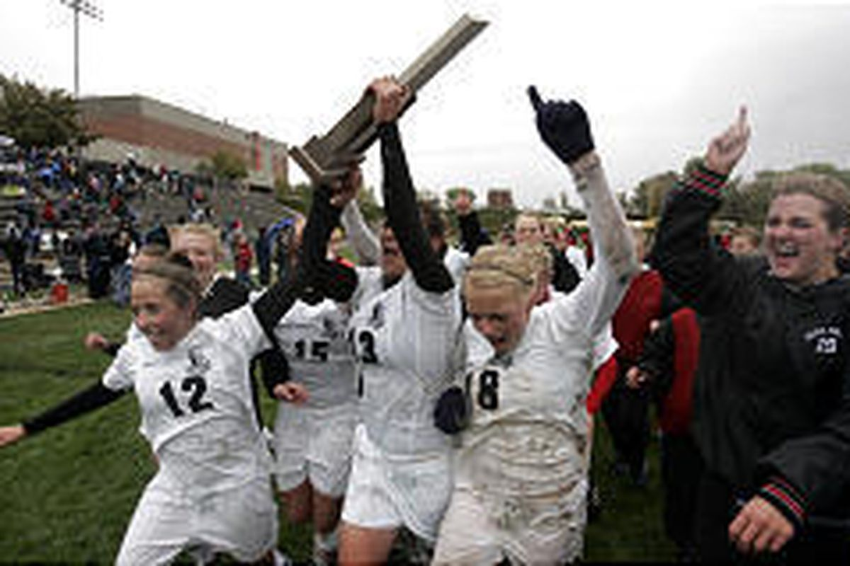The Alta girls soccer team celebrates its 5A state championship after beating Bingham 1-0 on Saturday. Alta has two titles in three years.
