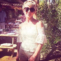 Friday's first stop was the Parker Palm Springs for a <i>Harper's Bazaar</i> lunch hosted by <b>Julianne Hough</b>. Here she is sporting all vintage and a newly chopped coif.