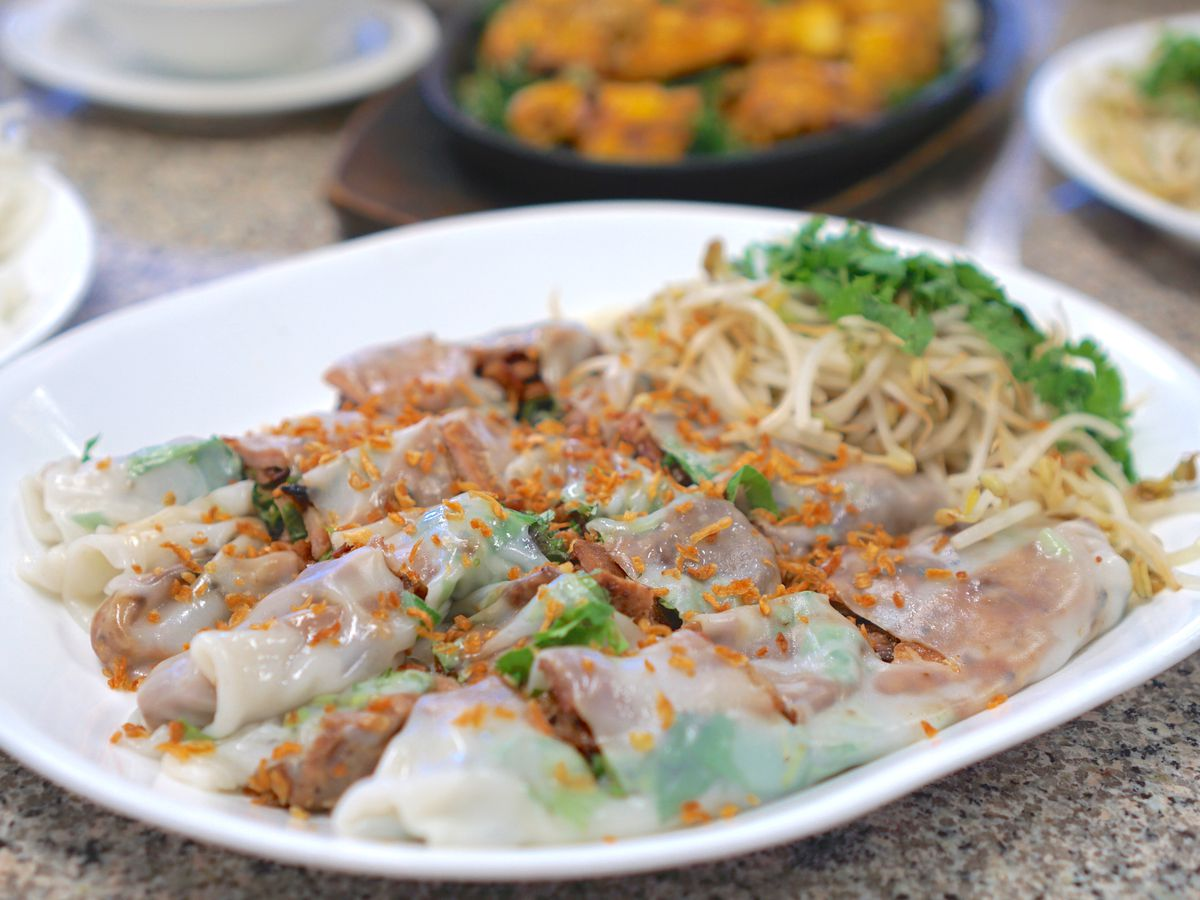 Banh cuon, or steamed rice rolls, at Thien Thanh