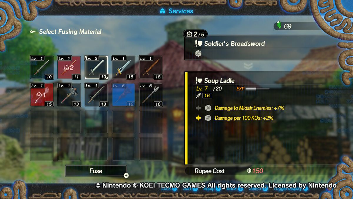 The weapon fusion screen in Hyrule Warriors: Age of Calamity