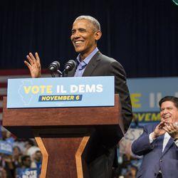 Former President Barack Obama and J.B. Pritzker at UIC Pavilion, Sunday.  | Ashlee Rezin/Sun-Times