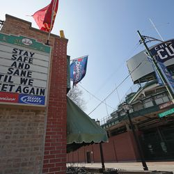 Outside Wrigley Field one day before the 2020 season was originally scheduled to begin, March 25