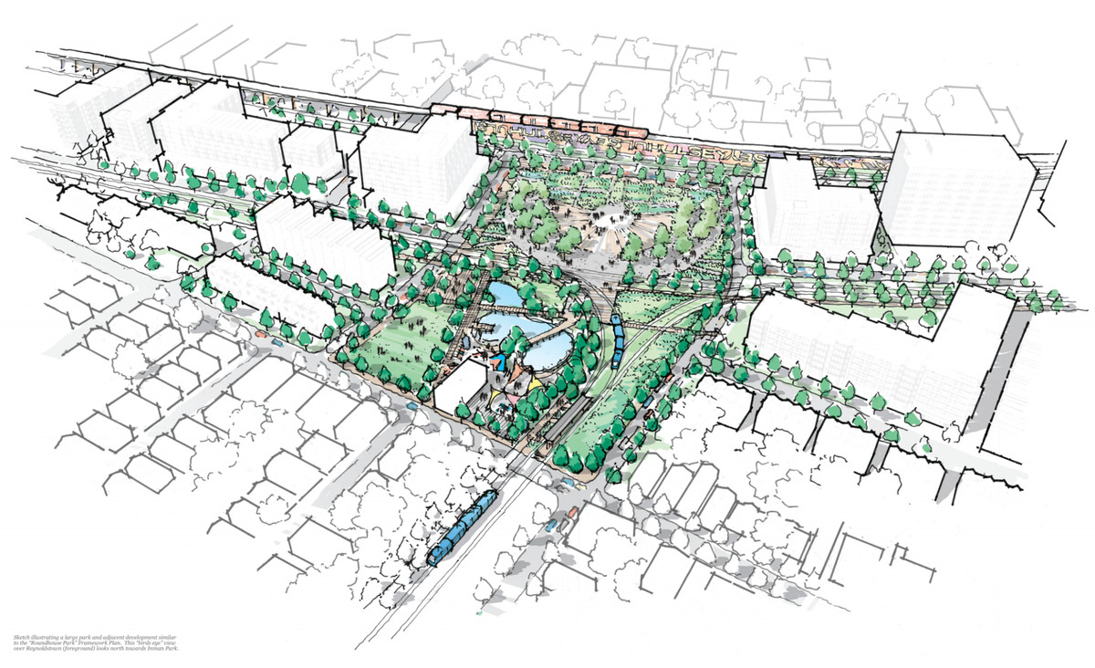 """A rendering of the proposed """"Roundhouse Park"""" project."""