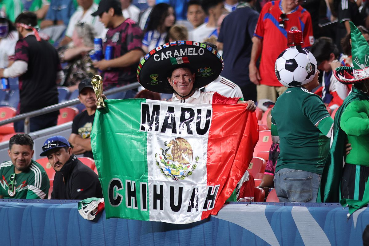 Mexico fans celebrate during the CONCACAF National League semifinal vs. Costa Rica June 3.