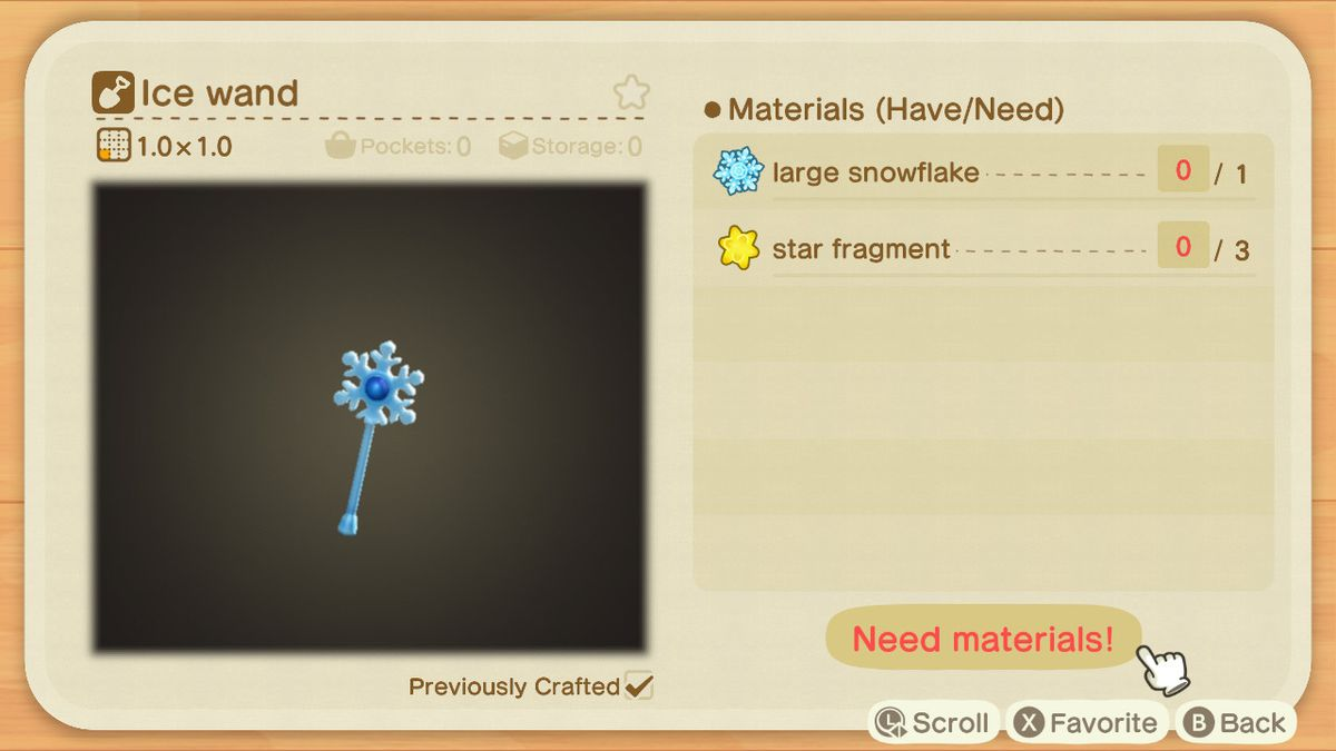 An Animal Crossing recipe for an Ice Wand