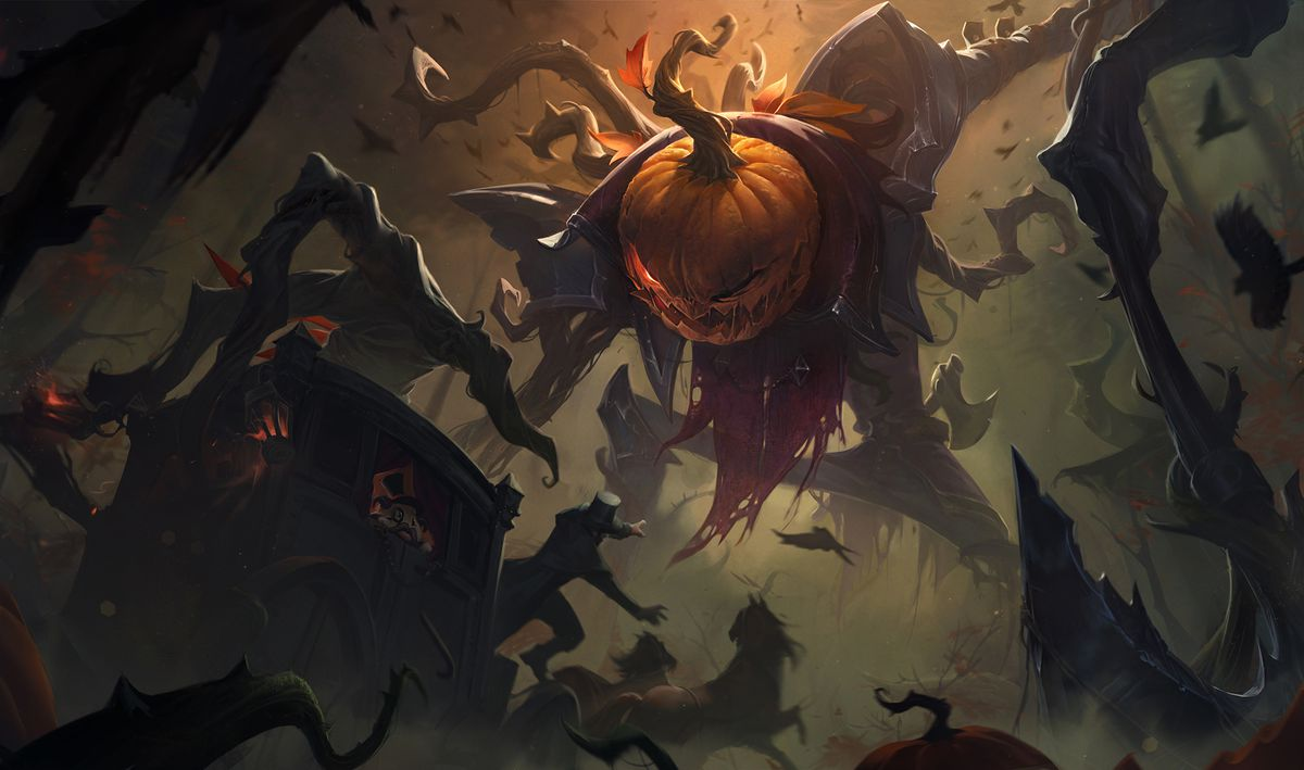 Pumpkinhead Fiddlesticks reaches down to pick up a card filled with people