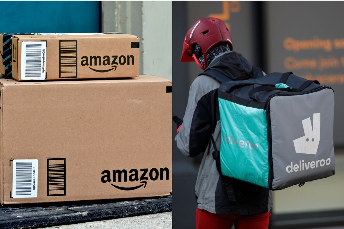 A composite image of Amazon-branded boxes on the left, and a Deliveroo restaurant delivery rider on the right
