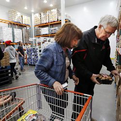 Rick and Cherri Gill shop for mushrooms at Costco in Salt Lake City. The store, located at 1818 S. 300 West, is the largest Costco in the world now that it has added a business center to its consumer store.
