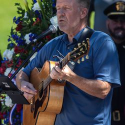 Musician Jeff Clark performsduring the annual Utah Police Memorial Service at the Capitol in Salt Lake City on Thursday, May 6, 2021. During the service, police officers, family, friends and community leaders honored the 147 Utah police officers killed in the line of duty.