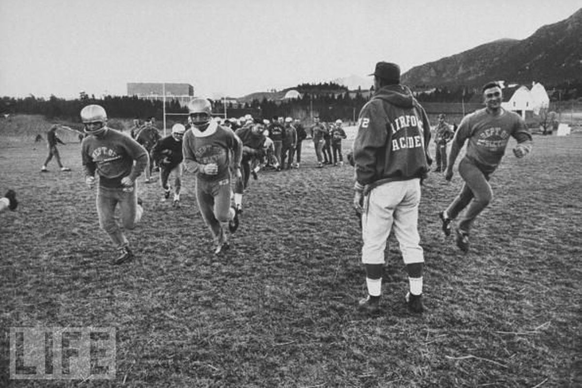 Air Force Academy running practice in Colorado Springs (LIFE Magazine).