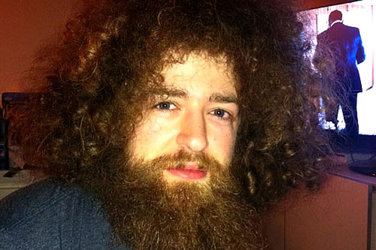There's a family of weevils living in Mat's beard.