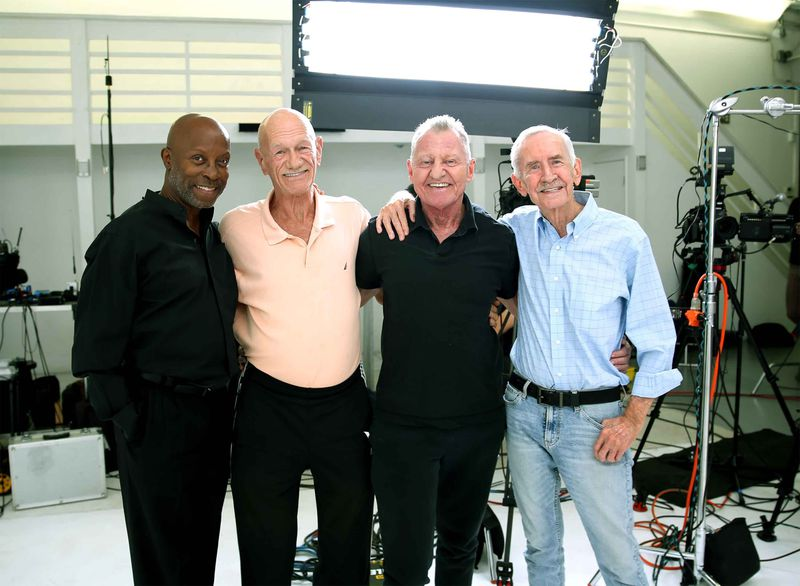 This photo shows Jessay Martin, 68 (from left), Robert Reeves, 78, Michael Peterson, 65, and William Lyons, 77, in Cathedral City, California, in November 2020. The four friends, known as the Old Gays, are among a growing number of seniors making names for themselves on social media.