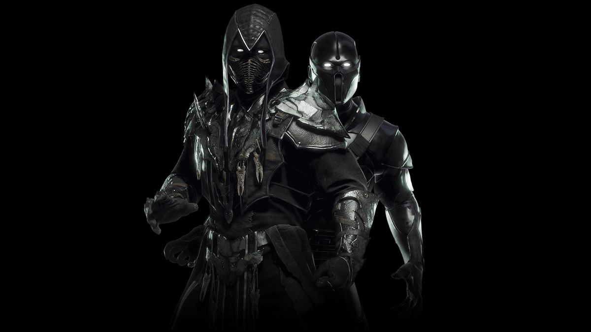 Noob Saibot as he appears in Mortal Kombat 11 on a black background