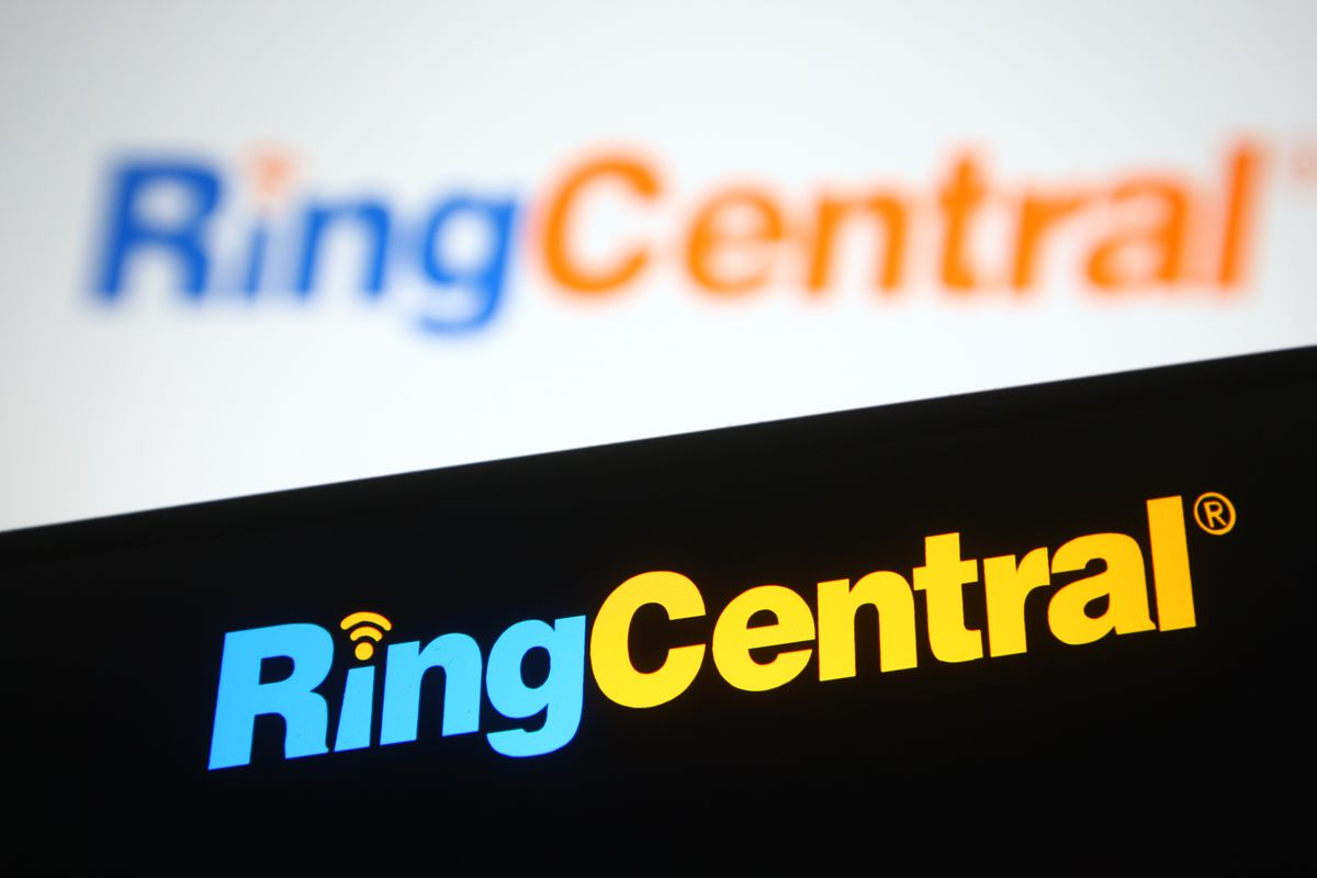 In this photo illustration a RingCentral logo is seen on a...