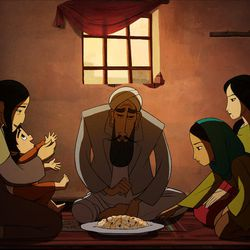 """Parvana and her family in """"The Breadwinner."""""""
