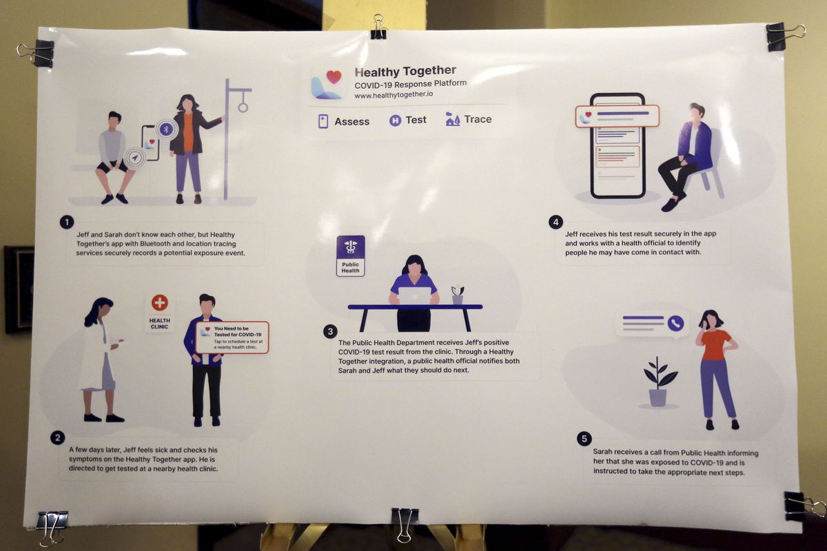 A poster displaying how the Healthy Together app will use location tracking for COVID-19 contact tracing is on display during the daily COVID-19 media briefing at the state Capitol in Salt Lake City on Wednesday, April 22, 2020.