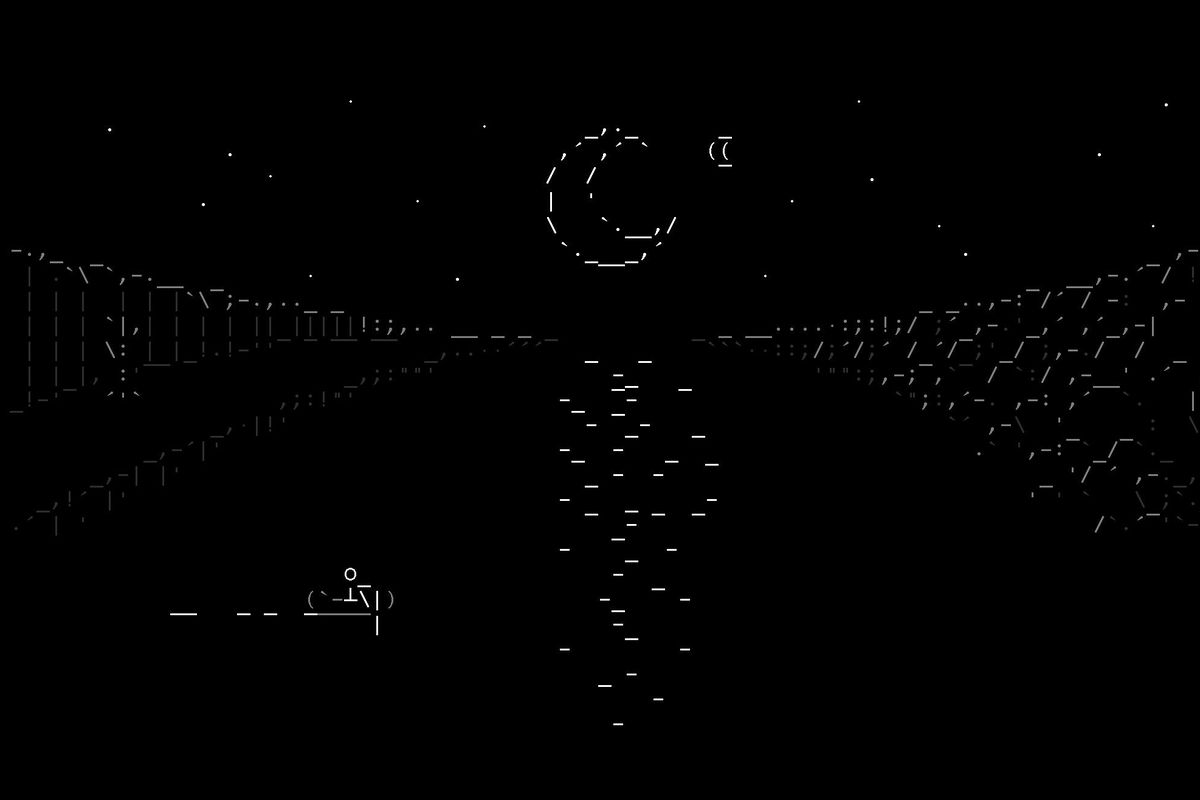 A figure paddles across a lake in the moonlight, all rendered with ASCII characters
