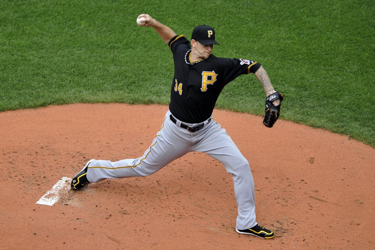 June 16, 2012; Cleveland, OH, USA; Pittsburgh Pirates starting pitcher A.J. Burnett (34) delivers in the first inning against the Cleveland Indians at Progressive Field. Mandatory Credit: David Richard-US PRESSWIRE