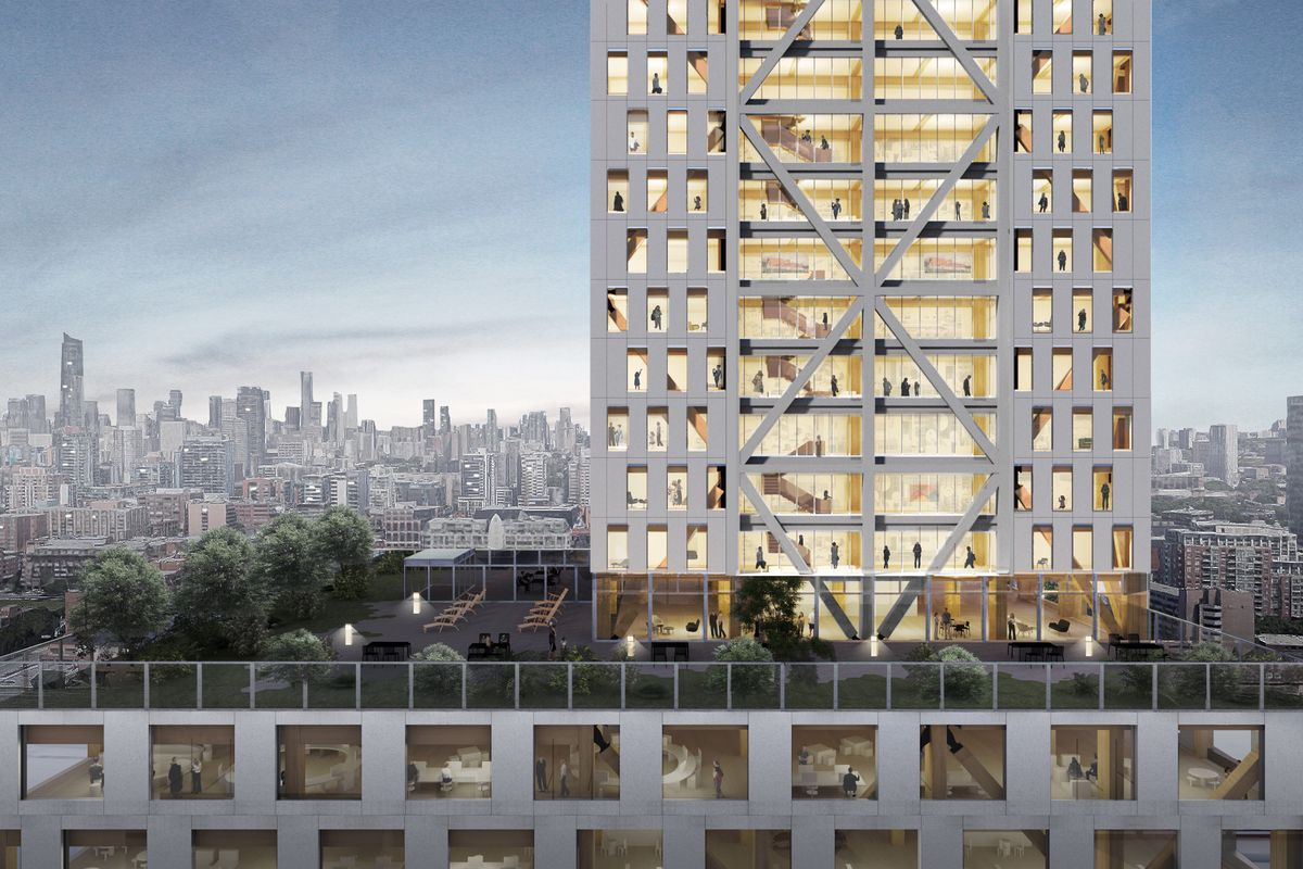 A rendering of a tall, handsome wood-framed contemporary office building with a large podium at the bottom showing a rooftop garden and a tower to the left that goes out of frame.