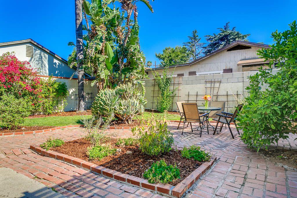 Backyard with brick patio