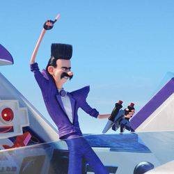 """Robot sidekick Clive (Andy Nyman) and '80s obsessed villain Balthazar Bratt (Trey Parker) in """"Despicable Me 3."""""""