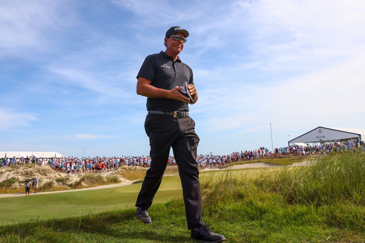 Phil Mickelson of the United States walks off the tenth tee during the third round of the 2021 PGA Championship at Kiawah Island Resort's Ocean Course on May 22, 2021 in Kiawah Island, South Carolina.