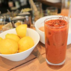'āina's Bloody Mary showcases the soft flavors of lemongrass-infused soju.