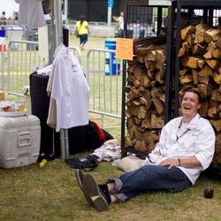 San Antonio chef Jason Dady takes a break from the fire pit. // photo by Andrea Grimes