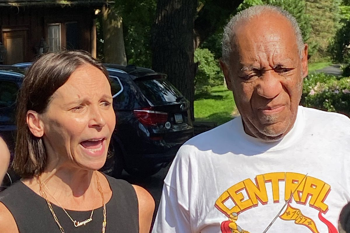 Attorney Jennifer Bonjean and Bill Cosby speak outside of Bill Cosby's home on June 30, 2021 in Cheltenham, Pennsylvania. Bill Cosby was released from prison after court overturns his sex assault conviction.