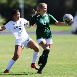 Murray's Emily Thai (3) tackles to regain the ball against Olympus' Necie Gubler (42) during a girls soccer game at Olympus High School in Holladay on Thursday, Sept. 3, 2020.