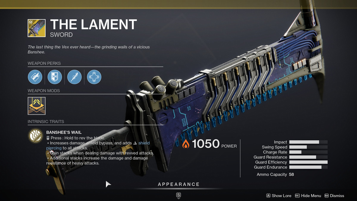 The Lament Exotic weapon from Destiny 2