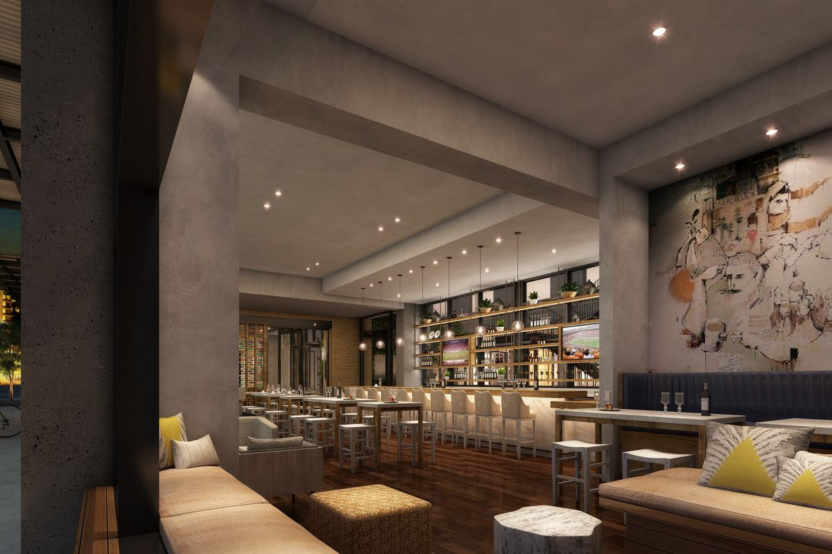 A rendering of a bar in the distance, concrete pillars, and an abstract painting
