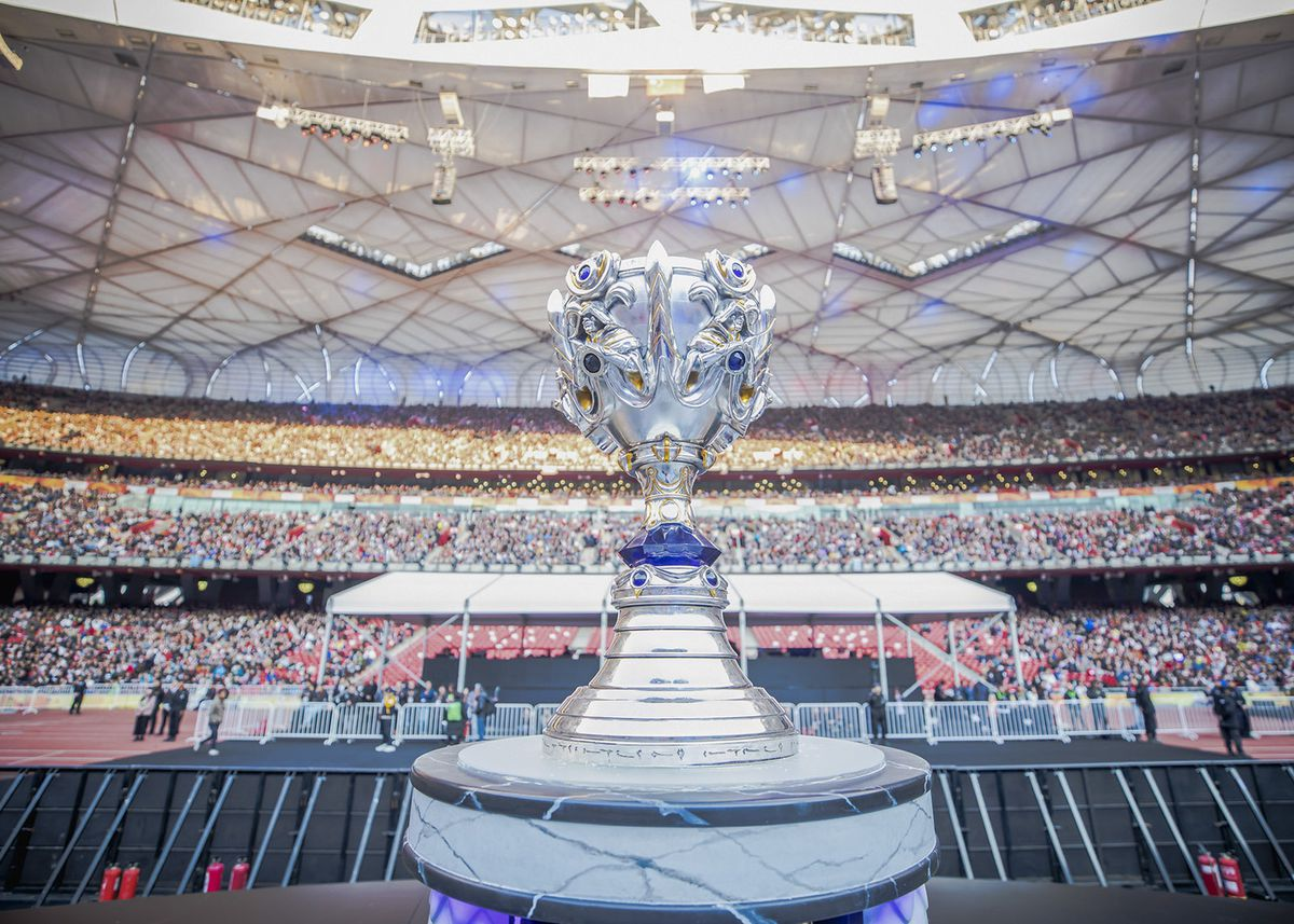 A photo of the Summoner's Cup from the 2017 League of Legends World Championships finals