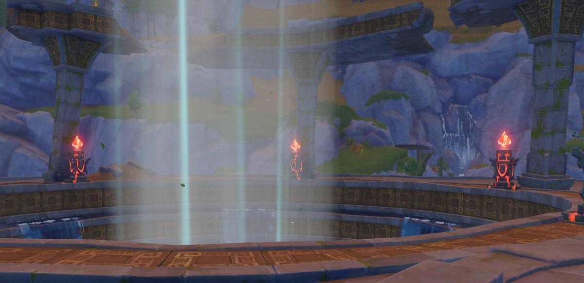 Three lit up fire pillars in Genshin Impact