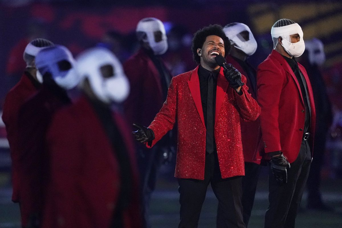 The Weeknd performs during the halftime show of the NFL Super Bowl LV football game between the Kansas City Chiefs and Tampa Bay Buccaneers, Sunday, Feb. 7, 2021, in Tampa, Fla.