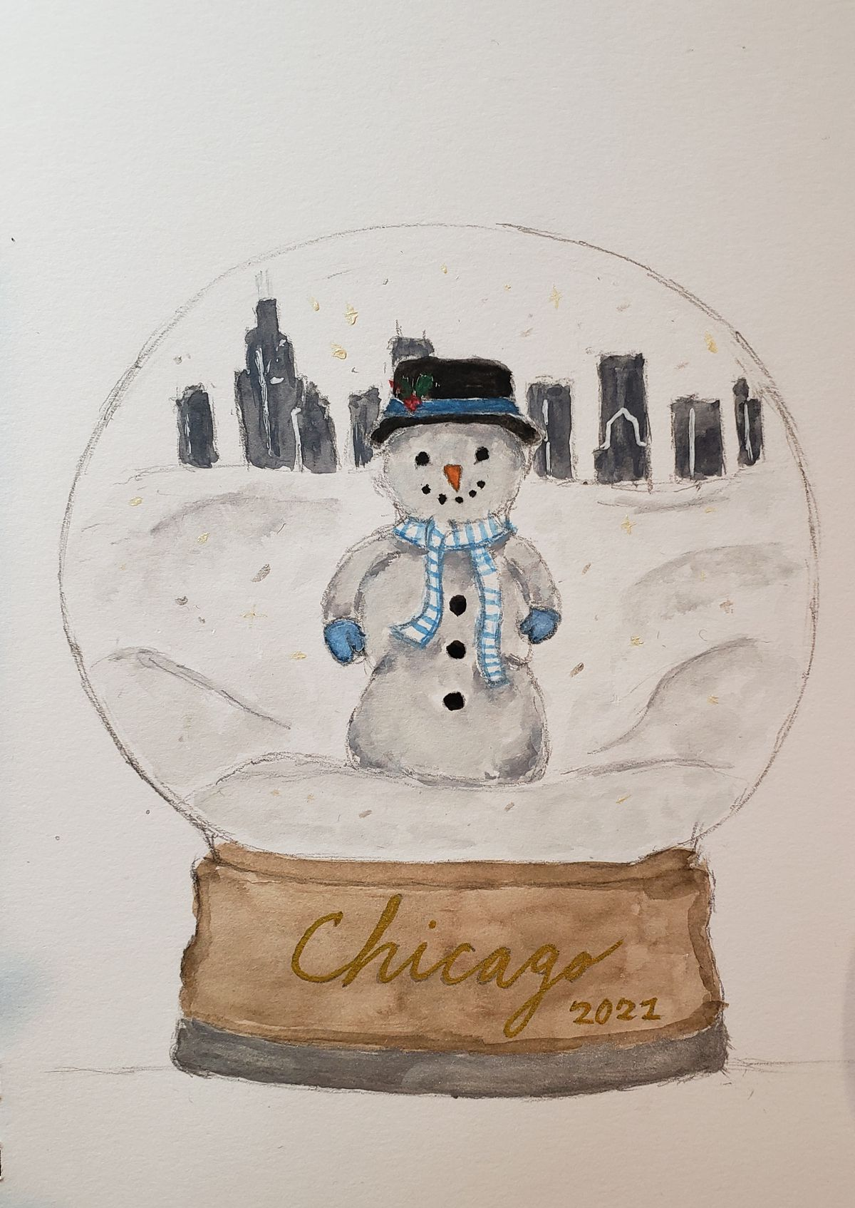 A snow globe snowman against the backdrop of the Chicago skyline by Julia P., 17, a junior at Curie Metro High School on the Southwest Side.