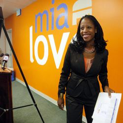 Saratoga Springs Mayor and Congressional candidate Mia Love smiles after giving her press conference Monday, Oct. 1, 2012, about the cost of having Congressman Jim Matheson in office.