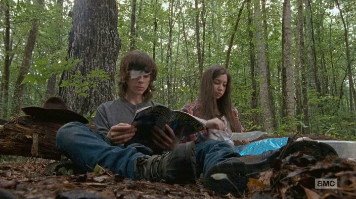 Carl and Enid head into the woods.
